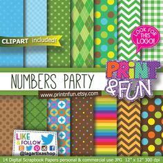 Numbers Digital Paper, Rainbow Patterns, Birthday Party, Printables, water bottle labels, favor boxes, popcorn box, party hat, toppers