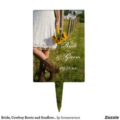 Bride, Cowboy Boots and Sunflowers Ranch Wedding Cake Topper
