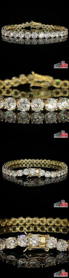 Bracelets 137835: Yellow Gold Finish .925 Silver 1 Row Simulated Diamond Bracelet 5Mm 8 Tennis -> BUY IT NOW ONLY: $65 on eBay!