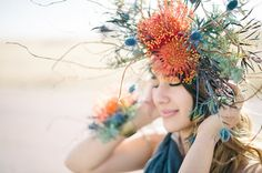 Loud and colorful  16 Flower Crowns for Your Fall Wedding via Brit + Co.