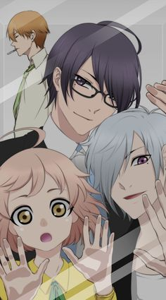 Crunchyroll - Fanart Meme Traps Anime Characters Behind Smartphone Glass. >> Brothers Conflict - the characters Natsume, Azusa, Tsubaki, and Wataru.