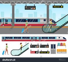 Subway station platform set with train and underground, inside the railway set. Train Vector, Subway Map, Journey Mapping, Special Agent, Design Graphique, Map Design, Flat Illustration, Train Station, Signage