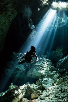 Our guide Nico pauses to admire the light in Tajma Ha cenote. ISO 5000, f/5, 1/30