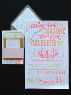 beautiful neon color palette for this wedding invitation suite by Ladyfingers Letterpress