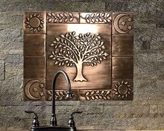 Beautiful Tree of life, Set of 17 Handmade copper tiles, kitchen rustic backsplash tiles Stone Mosaic Tile, Mosaic Glass, Tile Decals, Vinyl Decals, Feng Shui, Tile Stickers Kitchen, Wall Waterproofing, Kitchen Decor Sets, Tin Ceiling Tiles