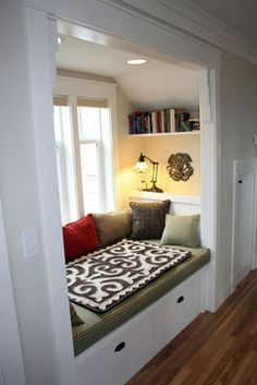 A reading nook. built in window seat Decor, House Design, House, Interior, Home, Bed Nook, House Interior, Home Deco, Interior Design
