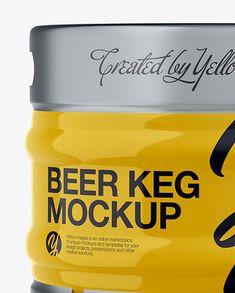 30L Glossy Beer Keg Mockup - Front View (Eye-Level Shot)