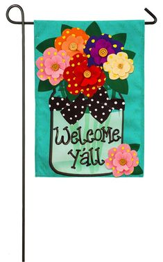 """Evergreen Welcome Y'all Polka Dot Flowers Double-Sided Burlap Garden Flag - 12.5""""W x 18""""H"""