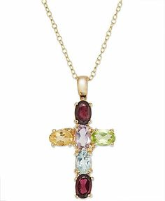 Victoria Townsend 18k Gold over Sterling Silver Multi-Stone Cross Pendant (3 ct. t.w.) $35 1.2""