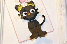 Gato negro cinta escultura arco.  Gato por SculptureClippiesNCo