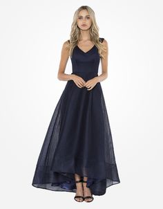 BARIANO  violets v-neck high-low ball gown - Dresses-Formal : Bariano - Fashion Designer Australia - BARIANO R25 - may/june
