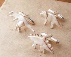 Silver Dinosaur Cufflinks - T-Rex, Stegosaurus, Triceratops - Choose 2 (Pure Silver Cufflink Faces) James