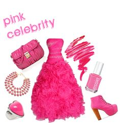 """pink celebrity"" by princess-kirstin ❤ liked on Polyvore"