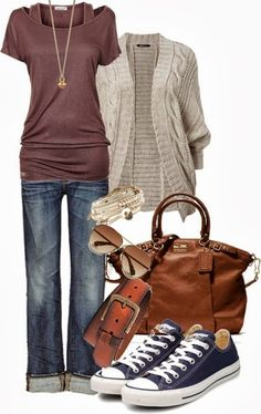 I'd like the top, cardigan, and bag please. Maybe with a denim or cream pencil skirt and shiny neutral ballet flats.