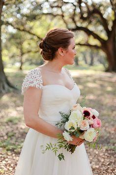gorgeous cap sleeves | Magnolia Pair #wedding