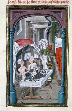 Medieval bathhouse. Sergius Orata in his bath, Facta et dicta memorabilia (BNF…
