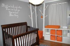 Baby Room Ideas: I like the light grey for the walls and our crib is brown. I would add a splash of color too.
