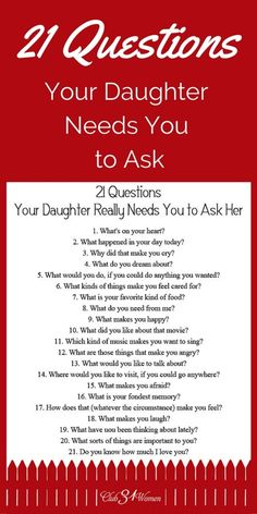 21 Questions Your Daughter Really Needs You to Ask Her Babypflege-Tipps in Telugu # ★ Erziehung ★ Source by . 21 Questions, This Or That Questions, Dating Questions, Couple Questions, Gentle Parenting, Parenting Advice, Kids And Parenting, Peaceful Parenting, Parenting Classes
