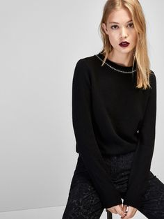 Autumn winter 2016 Women´s SWEATER WITH GEM DETAIL ON NECKLINE at Massimo Dutti for 98.5. Effortless elegance!