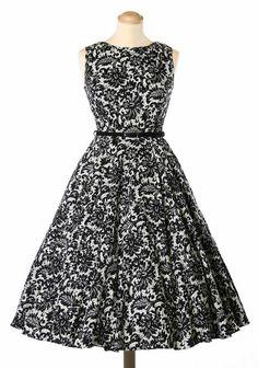 Glamorous Black Lace Hepburn Dress