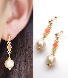 Pierced Look Ivory Cotton Pearl Invisible Clip On Earrings, Comfortable Pearl Clip Earrings, Diamond Motif Clip-ons, Non Pierced Earrings   🌟MiyabiGrace shop home. More invisible clip on earrings: click here https://www.etsy.com/shop/MiyabiGrace  ◆Material: Cotton pearl -Cotton pearls are compressed-cotton pearl and the weight is amazingly light.  You feel as if you were wearing nothing!    It is said that the cotton pearl jewelries appeared around in the middle of 19 century. During Art…
