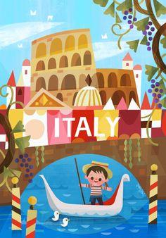 It's a Small World Ride- Disney Tokyo — Joey Chou Es ist eine kleine Weltfahrt – Disney Tokyo – Joey Chou Disney Illustration, Travel Illustration, Disney Love, Disney Art, Disney Couples, Walt Disney, Joey Chou, Poster Art, Disney Concept Art