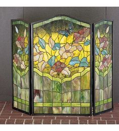 Stunning Stained Glass Butterfly Fireplace Screen Tiffany Style 40  w