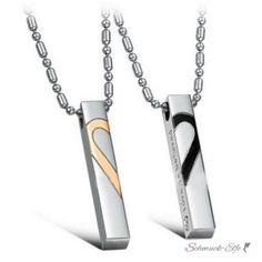 LOVE ♥ Unisex Kette Trendige Edelstahl Halskette mit Herz Anhänger ♥ i think..