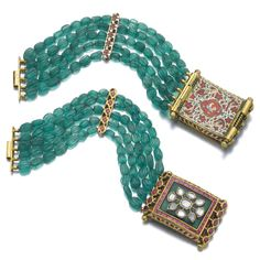 Pair of gem set, enamel and diamond bracelets, Rajasthan, India, composite Estimate — CHF Royal Jewelry, Luxury Jewelry, Fine Jewelry, Gold Jewellery, Jewelry Clasps, Beaded Jewelry, Jewelery, Diamond Bracelets, Bangle Bracelets