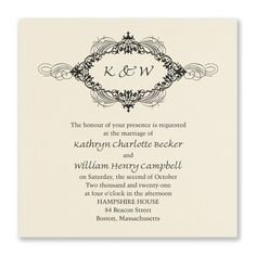 An intricate flourish design surrounds your initials on this stunning invitation on ecru paper. The foil makes everything shine! Ivory Wedding Invitations, Hampshire House, Beacon Street, Four O Clock, Invitation Suite, Ink Color, Flourish, Initials, Two By Two