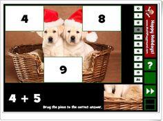 """""""Holiday puzzle addition facts to 20"""" es un juego, de mathplayground.com, en el que los más pequeños componen bonitos puzzles navideños llevando las piezas de la parte inferior derecha al lugar del tablero que expresa el resultado de la suma propuesta."""