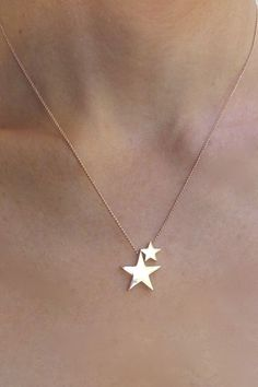 Sterling Silver solid Rose Gold 2 stars Necklace, Sterling Silver and Rose Gold Double Star Necklace – Beautiful Jewelry Cute Jewelry, Gold Jewelry, Jewelery, Jewelry Accessories, Jewelry Necklaces, Jewelry Design, Jewelry Shop, Jewelry Stores, Cheap Jewelry