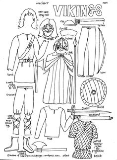 Historical paper doll dressing- Vikings, Medieval, Ancient Egypt, Elizabethan etc. History Class, Teaching History, World History, My Father's World, Story Of The World, Viking Men, Viking Ship, Ancient Vikings, Mystery Of History