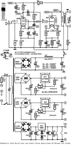 Single Ended Triode (SET) Tube Amplifier Schematic from the book Build our own Audio Valve Amplifiers by Rainer zur Linde. Radio Design, Speaker Box Design, Dc Circuit, Circuit Diagram, Electrical Projects, Electrical Engineering, Electrical Wiring, Electronics Basics, Electronics Projects