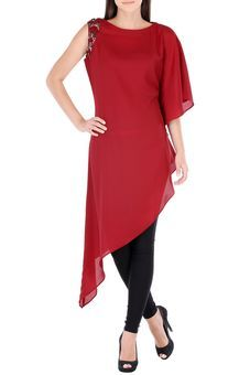 a50eaa9bad043 Burgundy Asymetrical Tunic With Hand Embroidery On One Armhole by  Threesome