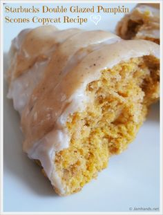 Pumpkin Scones Double Glazed Pumpkin Scones Copycat Recipe momspark.net    All this needs is a cup of coffee, and it is the perfect snack!