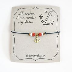 Anchor bracelet minimalist bracelet gift for her nautical bracelet with anchor I can survive any storm by LeiniJewelry Nautical Bracelet, Nautical Jewelry, Gifts For Friends, Gifts For Her, Macrame Bracelet Patterns, Anchor Jewelry, Red String Bracelet, Cord Bracelets, Anchor Bracelets