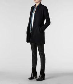 Womens Vita Wool Coat (Ink) | ALLSAINTS.com