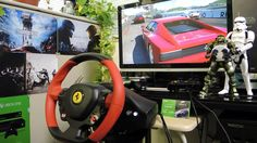 [24] Xbox One Forza 6  Thrustmaster Ferrari 458 Spider Racing Wheel Game...