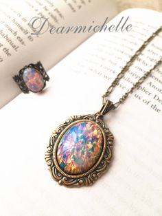 Victorian Vintage Pink Fire Opal Necklace, Vintage Jewelry, Antique Bronze Emerald Fire Opal Pendant, Iridescent Necklace, Opal Jewelry