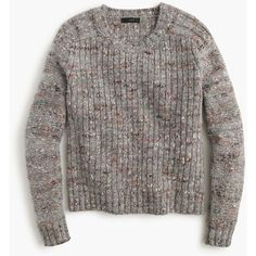 J.Crew Collection Textured Crewneck Sweater ($300) ❤ liked on Polyvore featuring tops, sweaters, brown tops, crew neck tops, oversized tops, multi colored sweater and colorful sweaters