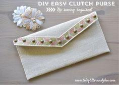 Easy DIY Clutch Purse-No Sewing Required!!! #DIY #handmade #purse #clutch #chevron #sequin #rosegold #gold #nailhead #hobbylobby www.letsglitterandglue.com