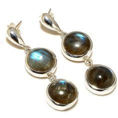 Natural Labradorite Gemstone 925 Silver Stud Earrings Handmade Fashion Jewelry | eBay