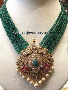 Here are three great emeralds designs with multi layered Emeralds beads sets with beautiful pendants that you should not miss out. Indian Jewelry Earrings, Jewelry Design Earrings, Gold Jewellery Design, Emerald Jewelry, Pendant Jewelry, Beaded Jewelry, Gold Jewelry, Bead Jewellery, Jewelery