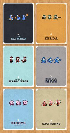 8 Bit Poster Series by Brandon Riesgo, via Behance -- Ice Climbers, Zelda…