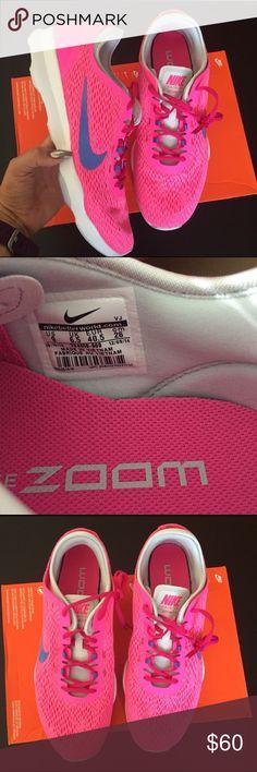 NIKE WOMENS ZOOM PINK Trainers Sz 9 new NIKE WOMENS ZOOM PINK Trainers Sz 9 new box is missing lid item#cdel26 Nike Shoes