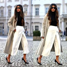 A chic gray, white and black combination for a warmer winter day. COAT, COS CULOTTE PANTS, ZARA PUMPS, ZARA