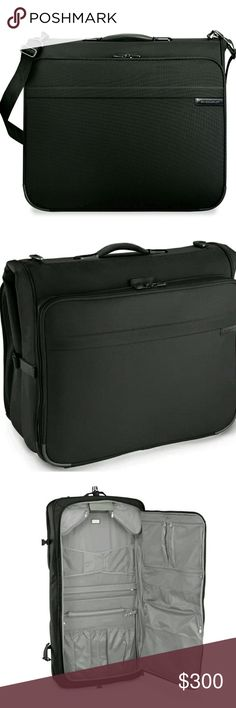 Briggs & Riley Deluxe Garment Bag 370-4 Black The Baseline Deluxe Garment Bag from Briggs & Riley is a great soft-sided garment bag for all your travel needs. Door panel features two zippered pockets perfect for laundry, two mesh pockets for undergarments, a tie/scarf pocket, and a large mesh packing pocket. Main section features two Wally Hook sets to securely hang 4-6 suits. Two removable snap-in corner mesh pockets are ideal for belts or odd-shaped items. Briggs and Riley Bags Luggage…