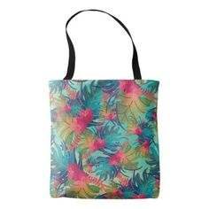Tropical Floral Watercolor Tote Bag - floral style flower flowers stylish diy personalize