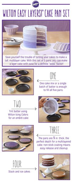 pan set is the best and easiest way to make a Cake!This pan set is the best and easiest way to make a Cake! Cake Decorating Tips, Cookie Decorating, Wilton Cakes, Cupcake Cakes, Petit Cake, Ombre Cake, Cake Tutorial, Pretty Cakes, Cakes And More